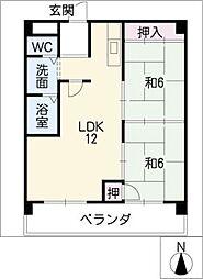 西里パークマンション[1階]の間取り