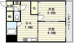 ランド雅[1階]の間取り