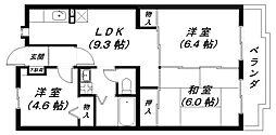 滋賀県近江八幡市鷹飼町北4丁目の賃貸マンションの間取り