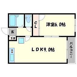 フラッツ江戸堀[3階]の間取り