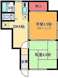 東京都足立区綾瀬1丁目の賃貸アパートの間取り