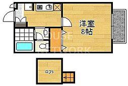 京都府京都市西京区桂久方町の賃貸アパートの間取り
