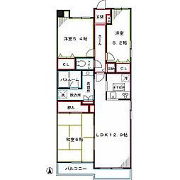 西武新宿線 都立家政駅 徒歩10分の賃貸マンション 1階3LDKの間取り
