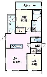 阪神本線 芦屋駅 徒歩2分の賃貸マンション 2階2LDKの間取り