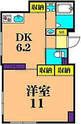 JR京浜東北・根岸線 大井町駅 徒歩15分の賃貸マンション 5階1DKの間取り