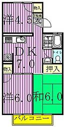 ツインハイムA・B[2階]の間取り