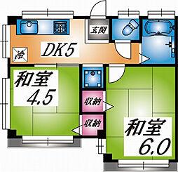 兵庫県神戸市灘区一王山町の賃貸マンションの間取り