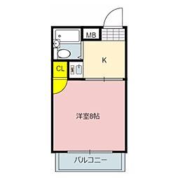 フジイマンション岩田[2階]の間取り