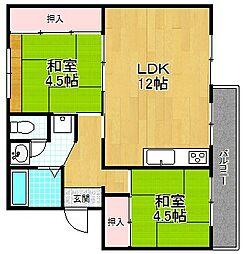 大阪府枚方市上野2丁目の賃貸マンションの間取り