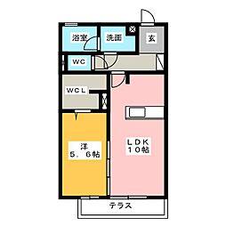 愛知県名古屋市中川区横井2の賃貸アパートの間取り