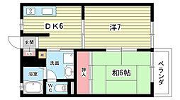 大阪府豊中市上野東1丁目の賃貸アパートの間取り