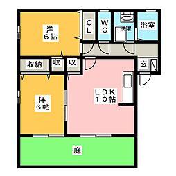 バロンドールB棟[1階]の間取り