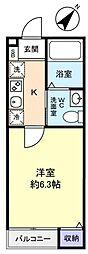 千葉県千葉市稲毛区天台2丁目の賃貸アパートの間取り