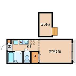 近鉄生駒線 菜畑駅 徒歩4分の賃貸アパート 1階1Kの間取り
