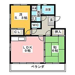 愛知県名古屋市中川区中野新町5丁目の賃貸マンションの間取り