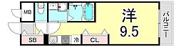 RyowaResidence 6階ワンルームの間取り