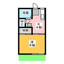 コーポ上野C[1階]の間取り