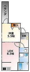 フジパレス甲子園口III番館 2階1LDKの間取り