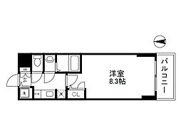 Osaka Metro谷町線 谷町四丁目駅 徒歩5分の賃貸マンション 11階1Kの間取り