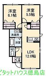 シャーメゾン南島田[101号室]の間取り