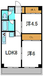 京阪本線 西三荘駅 徒歩20分の賃貸マンション 4階2LDKの間取り