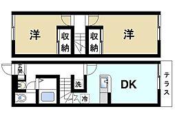 奈良県大和郡山市馬司町の賃貸アパートの間取り