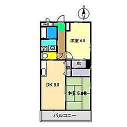 フィネス葛島[2階]の間取り