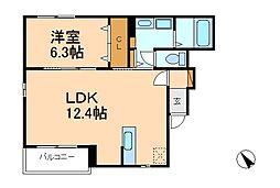 千葉県松戸市八ケ崎4丁目の賃貸アパートの間取り
