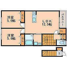 奈良県奈良市百楽園の賃貸アパートの間取り