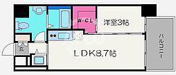 サニーハウス南堀江 6階1LDKの間取り