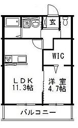 JR宇野線 備前西市駅 3.6kmの賃貸アパート 1階1LDKの間取り