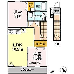 瀬谷区阿久和西3丁目 ウェストグランツI202号室[2階]の間取り
