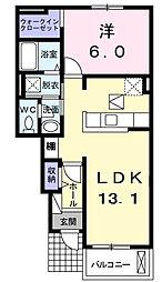 コンフォルターブルB[1階]の間取り