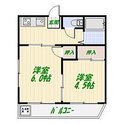 アサイハイツ[2階]の間取り