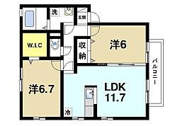 リビングタウン四条大路D棟[2階]の間取り