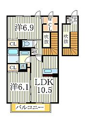 グランシャリオII[2階]の間取り
