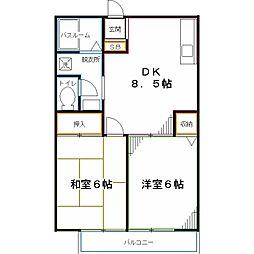 西武国分寺線 恋ヶ窪駅 徒歩4分の賃貸アパート 1階2DKの間取り