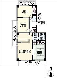 プリンセス三ッ池[3階]の間取り