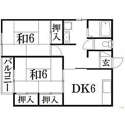 静岡県浜松市南区鶴見町の賃貸アパートの間取り
