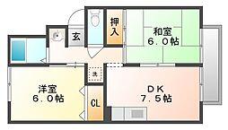 セジュール岡II[1階]の間取り