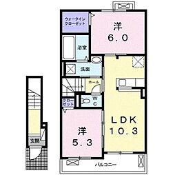 JR東海道本線 平塚駅 バス18分 片岡下車 徒歩6分の賃貸アパート 2階2LDKの間取り