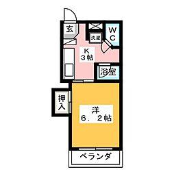 グリーンハイツ浅野II 2階1Kの間取り