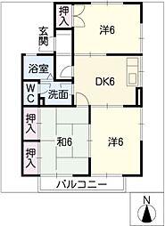 愛知県半田市北二ツ坂町3丁目の賃貸アパートの間取り
