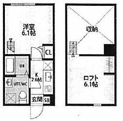 神奈川県横浜市西区浅間町の賃貸アパートの間取り