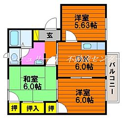岡山県岡山市中区下の賃貸アパートの間取り