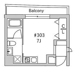 京王線 初台駅 徒歩8分の賃貸マンション 3階ワンルームの間取り