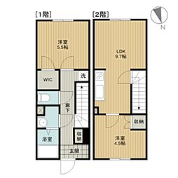 [テラスハウス] 北海道江別市緑町東3丁目 の賃貸【/】の間取り