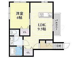 百島1丁目新築アパート 1階1LDKの間取り