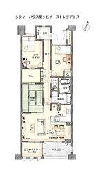 本物件間取り図。全居室6帖以上の生活のしやすい間取りです