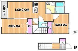 リバーサイド藤田E棟 2階2LDKの間取り